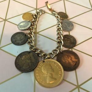Vinatage Elizabeth Coin Bracelet